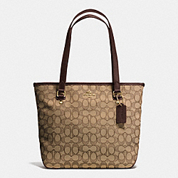 ZIP TOP TOTE IN OUTLINE SIGNATURE - f55364 - IMITATION GOLD/KHAKI/BROWN