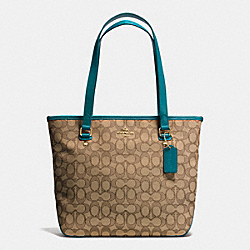 ZIP TOP TOTE IN OUTLINE SIGNATURE - f55364 - IMITATION KHAKI/ATLANTIC