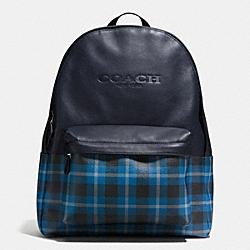 CHARLES BACKPACK IN PRINT COATED CANVAS - f55394 - BLACK/DENIM PLAID