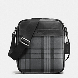 CHARLES FLIGHT BAG IN PRINTED COATED CANVAS - GREY/BLACK PLAID - COACH F55396