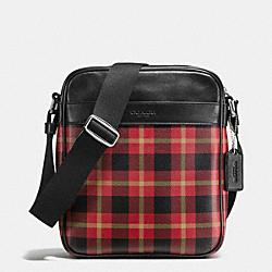 COACH CHARLES FLIGHT BAG IN PRINTED COATED CANVAS - BLACK/RED PLAID BLACK - F55396