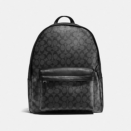 COACH CHARLES BACKPACK IN SIGNATURE CANVAS - CHARCOAL/BLACK - F55398