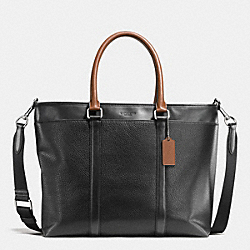 COACH PERRY BUSINESS TOTE IN PEBBLE LEATHER - BLACK/DARK SADDLE - F55410