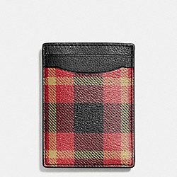 COACH BOXED 3-IN-1 CARD CASE IN PLAID PRINT COATED CANVAS - BLACK/RED PLAID BLACK - F55423