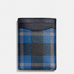 COACH BOXED 3-IN-1 CARD CASE IN PLAID PRINT COATED CANVAS - BLACK/DENIM PLAID - F55423