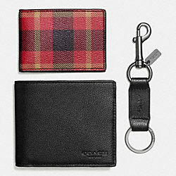 COACH BOXED 3-IN-1 WALLET IN RILEY PLAID COATED CANVAS - BLACK/RED PLAID BLACK - F55430