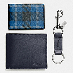 COACH BOXED 3-IN-1 WALLET IN RILEY PLAID COATED CANVAS - BLACK/DENIM PLAID - F55430