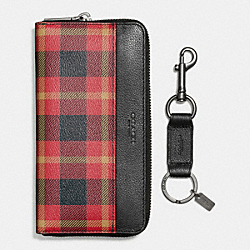 COACH BOXED ACCORDION WALLET IN PLAID PRINT COATED CANVAS - BLACK/RED PLAID BLACK - F55431