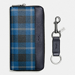 COACH BOXED ACCORDION WALLET IN PLAID PRINT COATED CANVAS - BLACK/DENIM PLAID - F55431