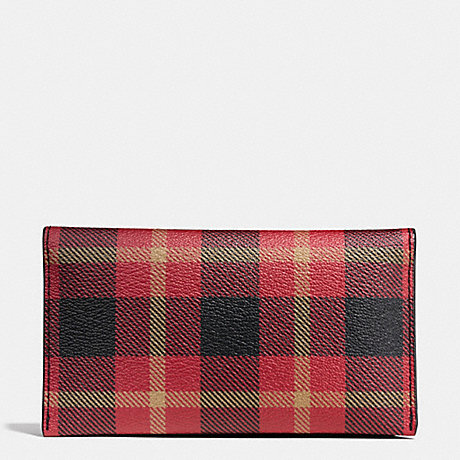 COACH UNIVERSAL PHONE CASE IN PLAID COATED CANVAS - BLACK/RED PLAID BLACK - f55432