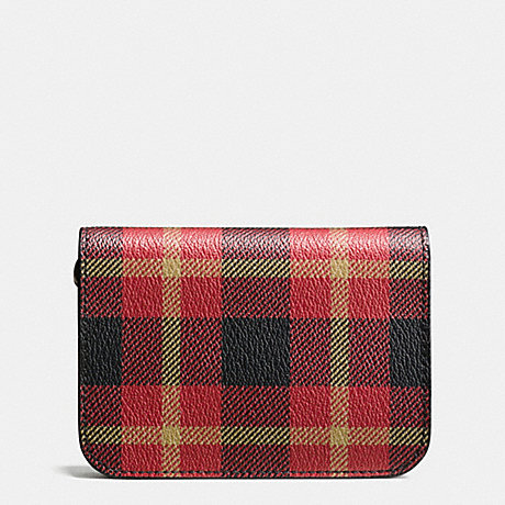 COACH GROOMING KIT IN PLAID PRINT COATED CANVAS - BLACK/RED PLAID BLACK - f55436