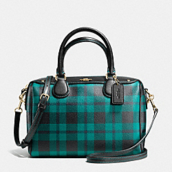 MINI BENNETT SATCHEL IN RILEY PLAID COATED CANVAS - f55446 - IMITATION GOLD/ATLANTIC MULTI