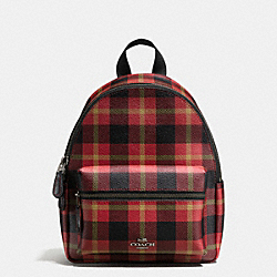 MINI CHARLIE BACKPACK IN RILEY PLAID COATED CANVAS - f55448 - QB/True Red Multi