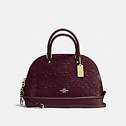 SIERRA SATCHEL IN SIGNATURE DEBOSSED PATENT LEATHER - f55449 - IMITATION GOLD/OXBLOOD 1