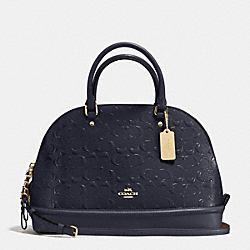 SIERRA SATCHEL IN SIGNATURE DEBOSSED PATENT LEATHER - f55449 - IMITATION GOLD/MIDNIGHT