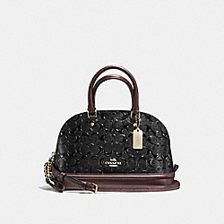 MINI SIERRA SATCHEL IN SIGNATURE DEBOSSED PATENT LEATHER - f55450 - IMITATION GOLD/BLACK OXBLOOD