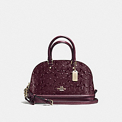 MINI SIERRA SATCHEL IN SIGNATURE DEBOSSED PATENT LEATHER - f55450 - IMITATION GOLD/OXBLOOD 1
