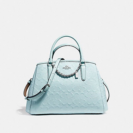COACH f55451 SMALL MARGOT CARRYALL IN SIGNATURE DEBOSSED PATENT LEATHER SILVER/AQUA