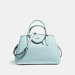 COACH SMALL MARGOT CARRYALL IN SIGNATURE DEBOSSED PATENT LEATHER - SILVER/AQUA - F55451