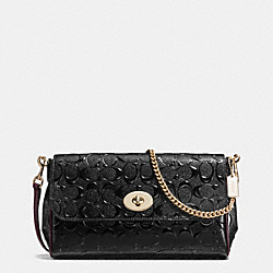 RUBY CROSSBODY IN SIGNATURE DEBOSSED PATENT LEATHER - f55452 - IMITATION GOLD/BLACK OXBLOOD