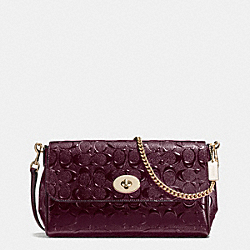 RUBY CROSSBODY IN SIGNATURE DEBOSSED PATENT LEATHER - f55452 - IMITATION GOLD/OXBLOOD 1