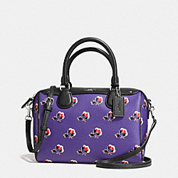 MINI BENNETT SATCHEL IN BRAMBLE ROSE FLORAL PRINT CANVAS - f55464 - SILVER/PURPLE