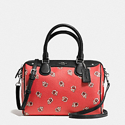 MINI BENNETT SATCHEL IN SIENNA ROSE FLORAL PRINT CANVAS - f55465 - SILVER/WATERMELON