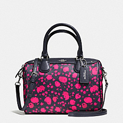 MINI BENNETT SATCHEL IN PRAIRIE CALICO FLORAL PRINT COATED CANVAS - f55466 - SILVER/MIDNIGHT PINK RUBY