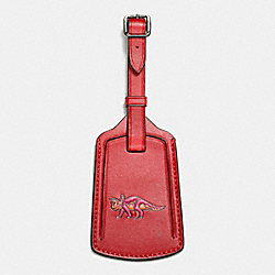 LUGGAGE TAG IN GLOVETANNED LEATHER - f55467 - RED