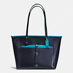 CITY TOTE WITH POUCH IN CROSSGRAIN LEATHER - f55469 - SILVER/MIDNIGHT TURQUOISE