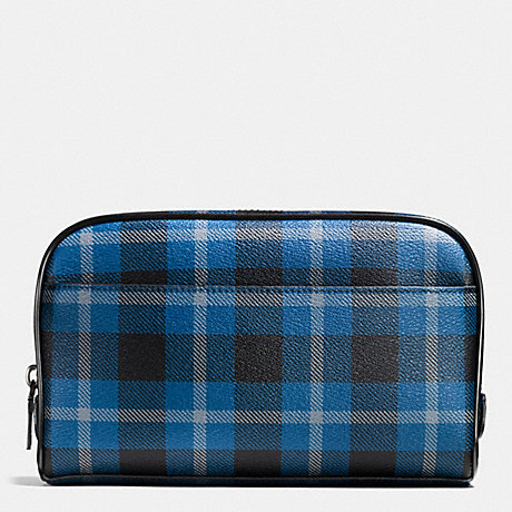 COACH OVERNIGHT TRAVEL KIT IN PLAID COATED CANVAS - BLACK/DENIM PLAID - f55473