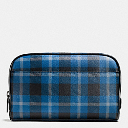 OVERNIGHT TRAVEL KIT IN PLAID COATED CANVAS - f55473 - BLACK/DENIM PLAID