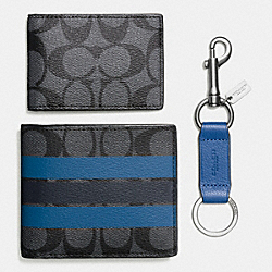 COACH BOXED 3-IN-1 WALLET IN VARSITY SIGNATURE COATED CANVAS - CHARCOAL/MIDNIGHT NAVY - F55485