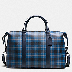 VOYAGER BAG IN PRINTED COATED CANVAS - f55488 - BLACK/DENIM PLAID