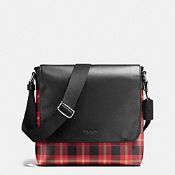 CHARLES SMALL MESSENGER IN PRINTED COATED CANVAS - BLACK/RED PLAID BLACK - COACH F55490