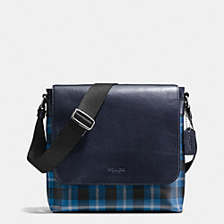 CHARLES SMALL MESSENGER IN PRINTED COATED CANVAS - BLACK/DENIM PLAID - COACH F55490