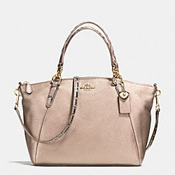 COACH SMALL KELSEY SATCHEL IN METALLIC LEATHER WITH EXOTIC TRIM - IMITATION GOLD/PLATINUM - F55514
