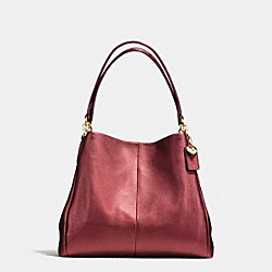 PHOEBE SHOULDER BAG IN METALLIC LEATHER WITH EXOTIC TRIM - f55516 - IMITATION GOLD/METALLIC CHERRY