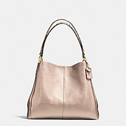 PHOEBE SHOULDER BAG IN METALLIC LEATHER WITH EXOTIC TRIM - f55516 - IMITATION GOLD/PLATINUM