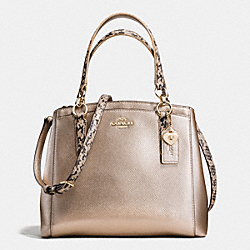 MINETTA CROSSBODY IN METALLIC LEATHER WITH EXOTIC TRIM - f55517 - IMITATION GOLD/PLATINUM