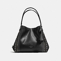 COACH EDIE SHOULDER BAG 31 WITH WESTERN RIVETS - BLACK/DARK GUNMETAL - F55544
