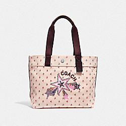 TOTE WITH FLORAL DITSY PRINT AND STAR - LIGHT PINK MULTI/SILVER - COACH F55598