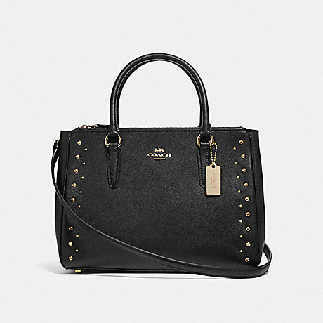 COACH SURREY CARRYALL WITH STUDS - BLACK/IMITATION GOLD - F55600