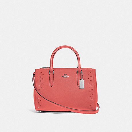 COACH SURREY CARRYALL WITH STUDS - CORAL/SILVER - F55600