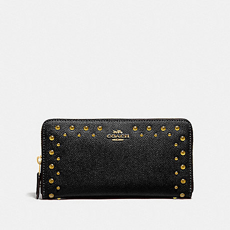 COACH ACCORDION ZIP WALLET WITH STUDS - BLACK/IMITATION GOLD - F55610