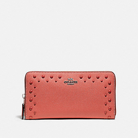 COACH ACCORDION ZIP WALLET WITH STUDS - CORAL/SILVER - F55610