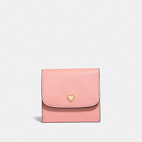 COACH SMALL WALLET WITH LACE HEART PRINT INTERIOR - PETAL/IMITATION GOLD - F55613