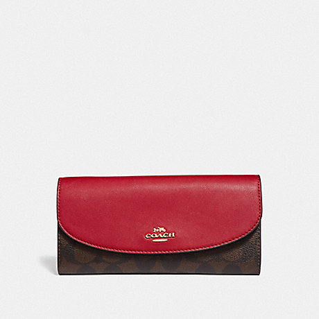 COACH LUNAR NEW YEAR SLIM ENVELOPE WALLET IN COLORBLOCK SIGNATURE CANVAS - BROWN BLACK/PINK MULTI/IMITATION GOLD - F55616