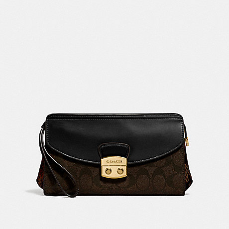 COACH FLAP CLUTCH - BROWN BLACK/MULTI/IMITATION GOLD - F55618