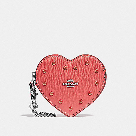 COACH HEART COIN CASE WITH STUDS - CORAL/SILVER - F55620